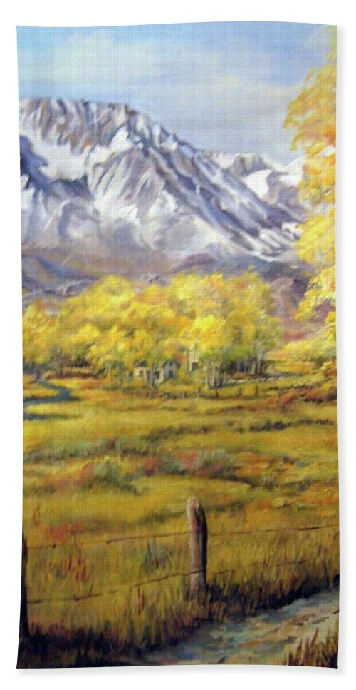 Nature Beach Towel featuring the painting Bishop In The Fall by Donna Tucker