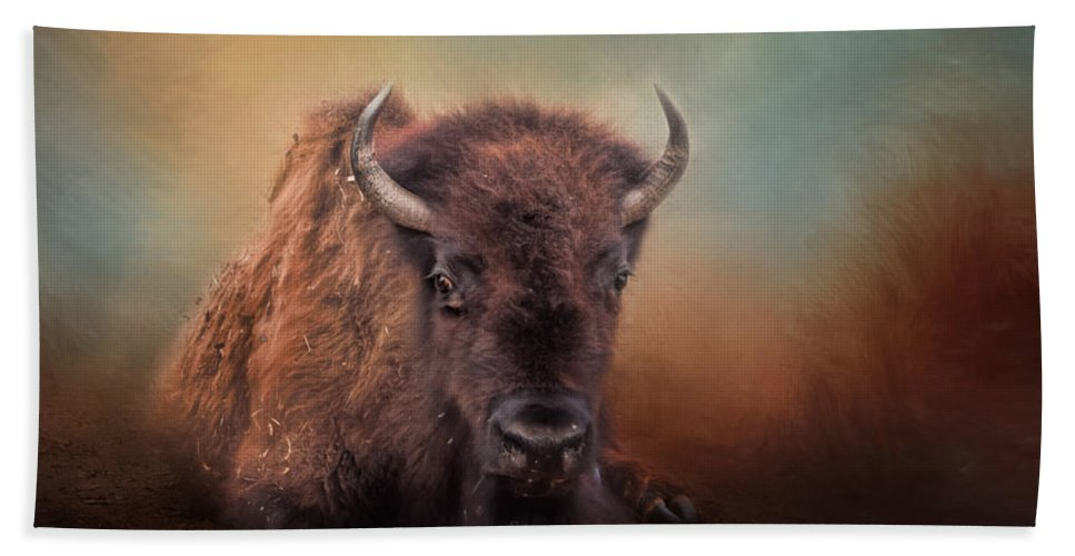 American Buffalo Beach Towel featuring the photograph Bison At Rest by David and Carol Kelly