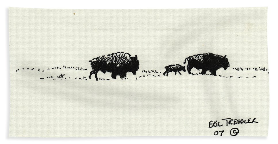 Buffalo Beach Towel featuring the photograph Bison Family by Eric Tressler