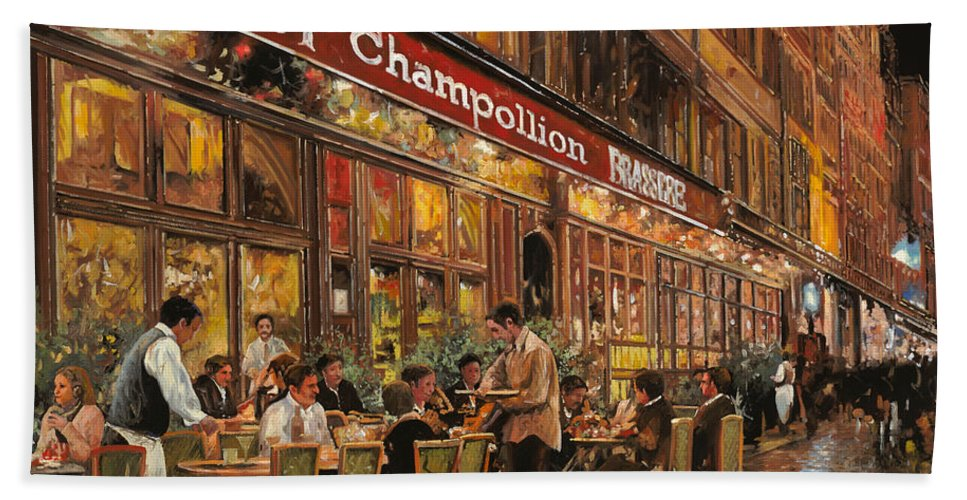 Street Scene Beach Towel featuring the painting Bistrot Champollion by Guido Borelli