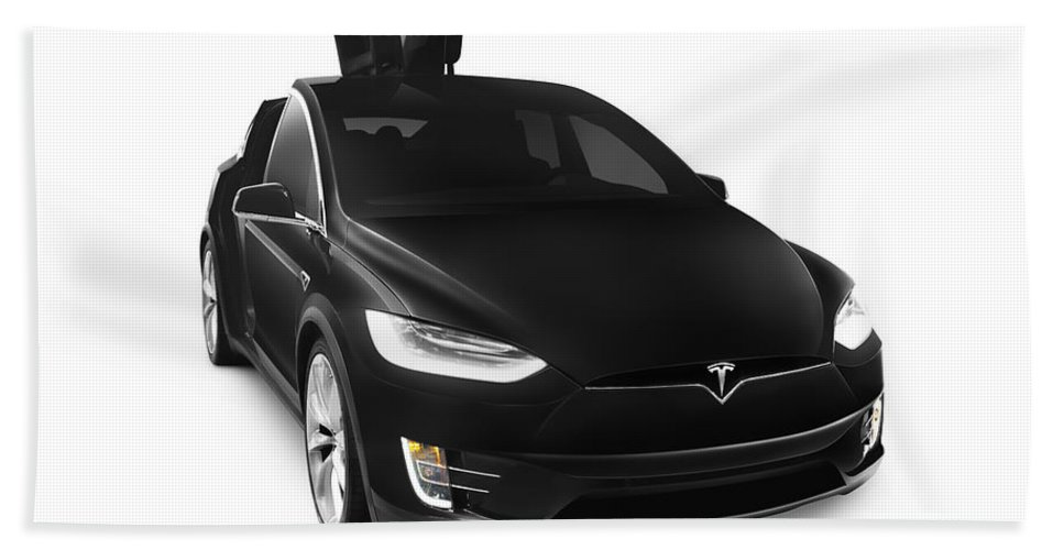 Tesla Beach Towel featuring the photograph Black 2017 Tesla Model X Luxury Suv Electric Car Falcon Doors by Maxim Images Prints