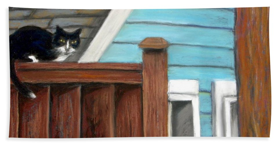 Cat Beach Towel featuring the painting Black Alley Cat by Minaz Jantz