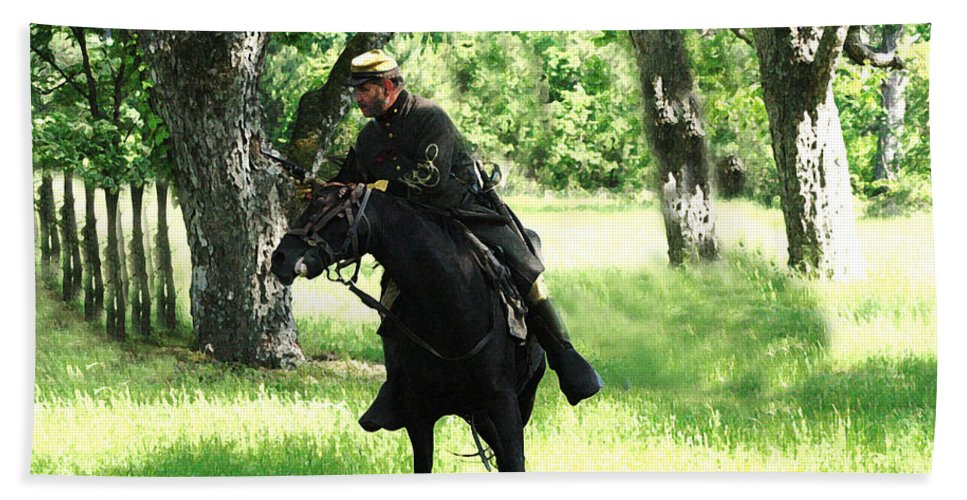 Civil War Re-enactment Beach Towel featuring the photograph Black Amongst The Green by Kim Henderson