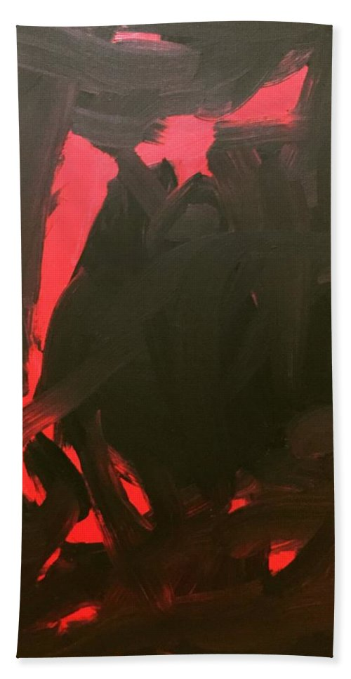 Beach Towel featuring the painting Black And Red by Nicole Saenz