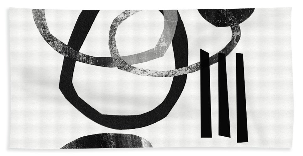 Black And White Abstract Beach Towel featuring the mixed media Black And White- Abstract Art by Linda Woods