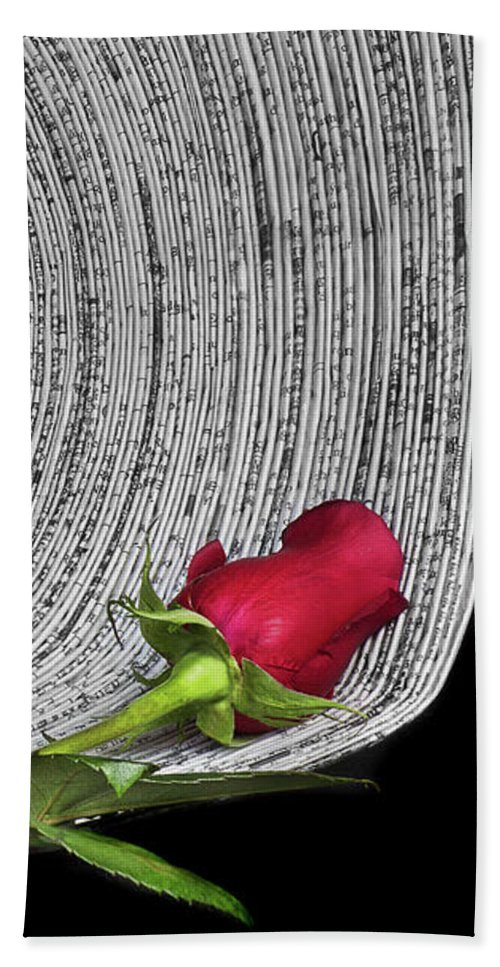 Selective Color Beach Towel featuring the photograph Black And White And Red All Over by Nikolyn McDonald