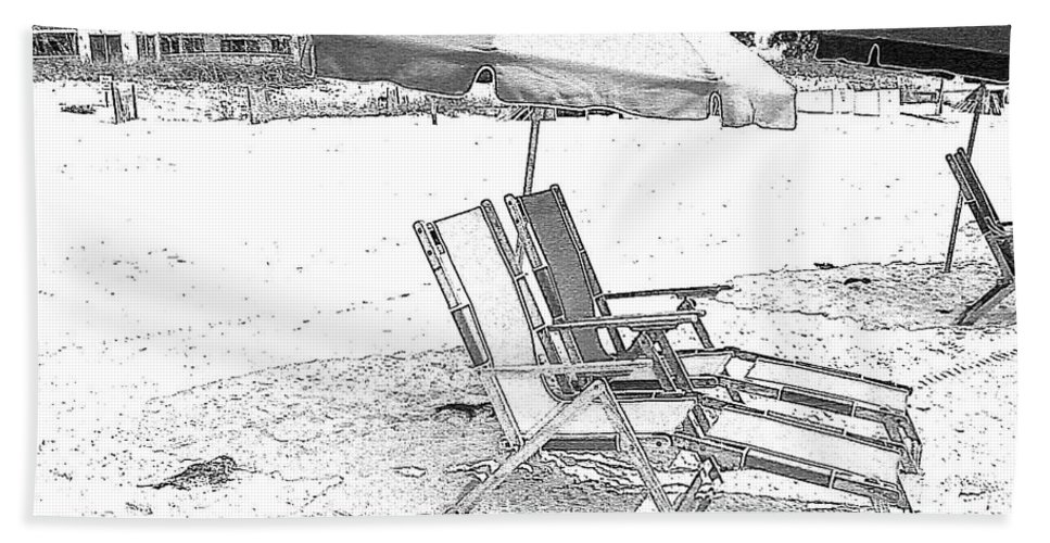 Black And White Beach Towel featuring the photograph Black And White Beach Chairs by Michelle Powell