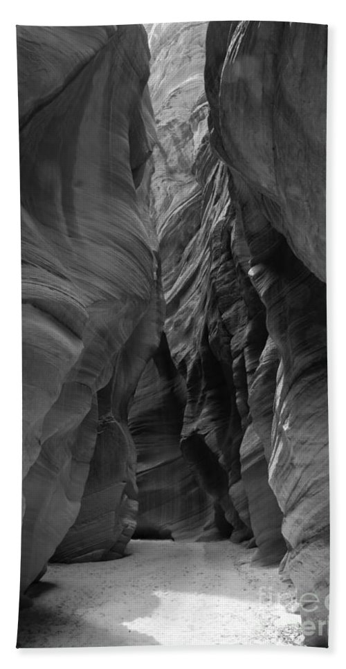 Black And White Beach Towel featuring the photograph Black And White Buckskin Gulch by Adam Jewell