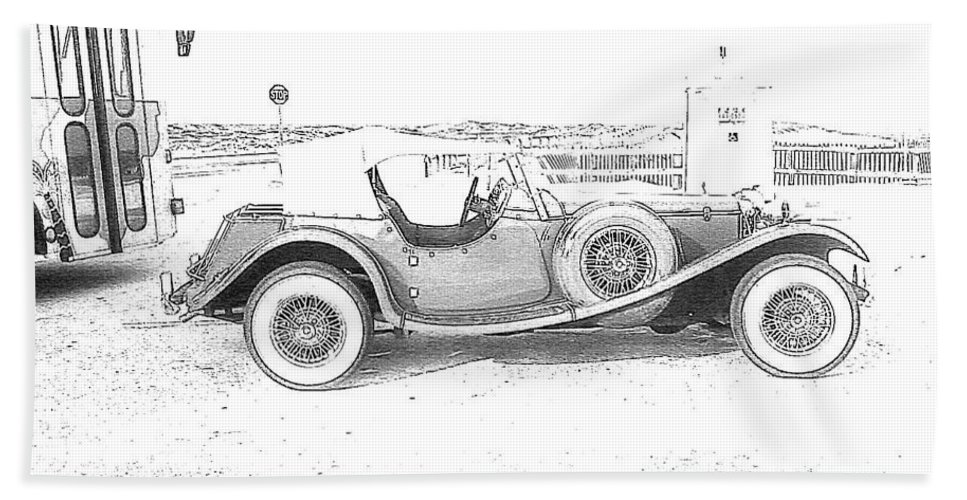 Black And White Car Beach Towel featuring the photograph Black And White Car by Michelle Powell