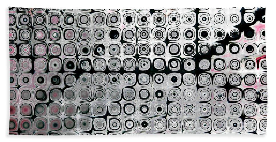 Black Beach Towel featuring the digital art Black And White Circles A by Patty Vicknair