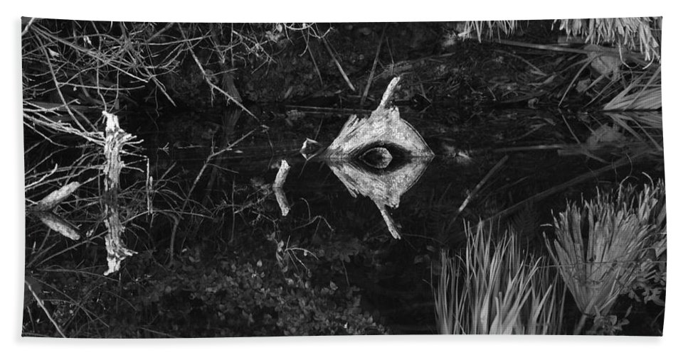 Cyclops Beach Towel featuring the photograph Black And White Cyclops by Rob Hans