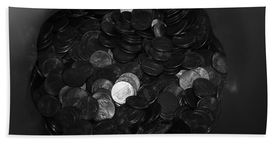Abstract Beach Towel featuring the photograph Black And White Pennies by Rob Hans