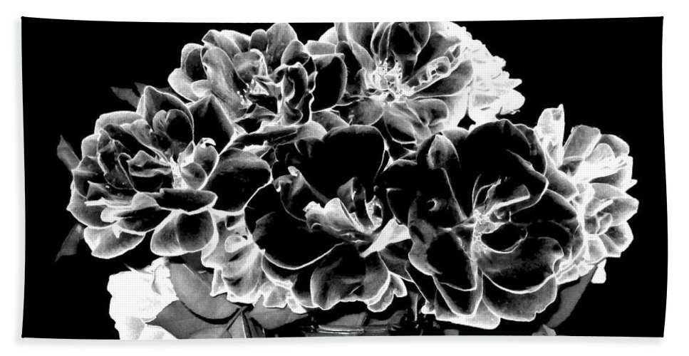Roses Beach Towel featuring the digital art Black And White Roses by Will Borden