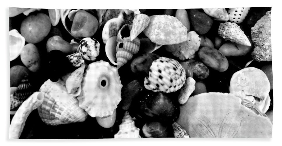 Macro Beach Towel featuring the photograph Black And White Seashells by Kimberly Perry