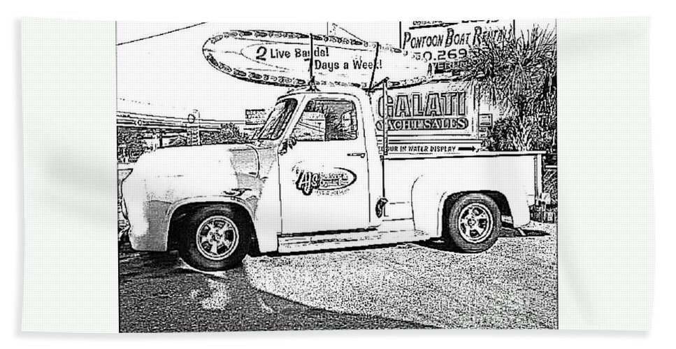 Black And White Beach Towel featuring the photograph Black And White Sketch Truck by Michelle Powell