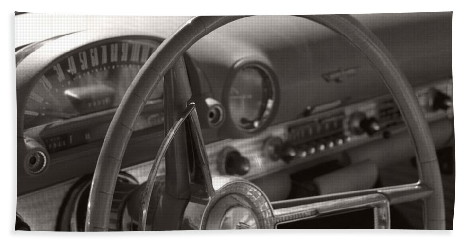 Black And White Photography Beach Towel featuring the photograph Black And White Thunderbird Steering Wheel by Heather Kirk