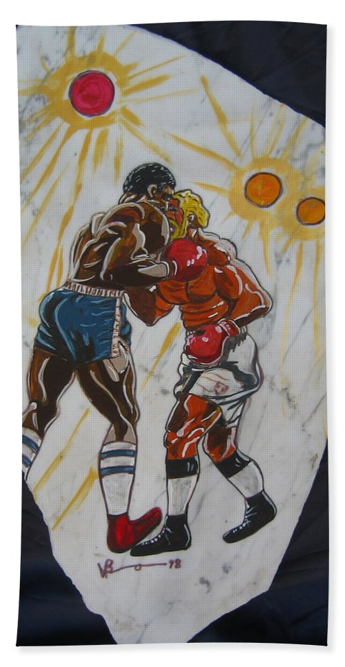 Boxing Beach Towel featuring the mixed media Black And White by V Boge