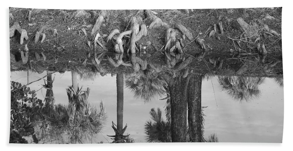 Roots Beach Towel featuring the photograph Black And White Water Reflections by Rob Hans