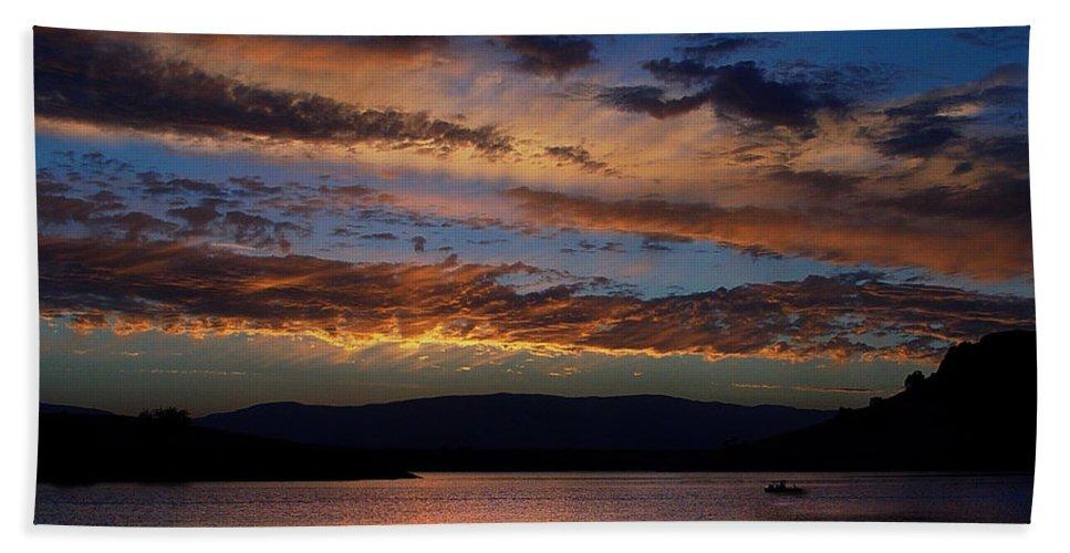 Black Butte Sunset Beach Sheet featuring the photograph Black Butte Sunset by Peter Piatt