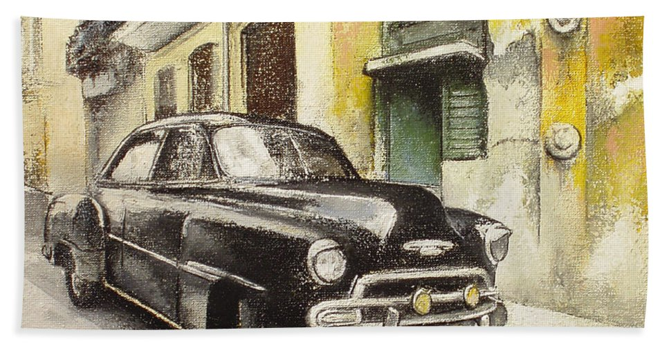Car Beach Towel featuring the painting Black cadillac by Tomas Castano