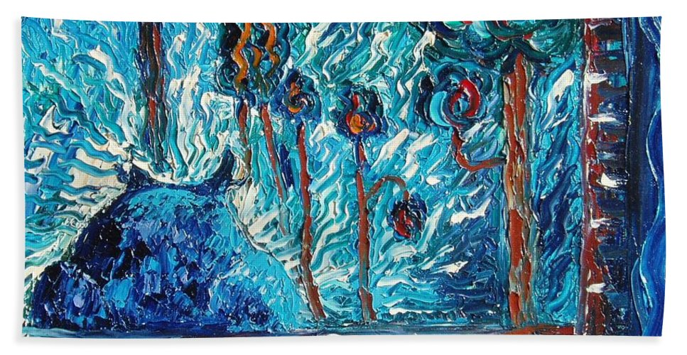 Abstract Cat Paintings Beach Towel featuring the painting Black Cat by Seon-Jeong Kim