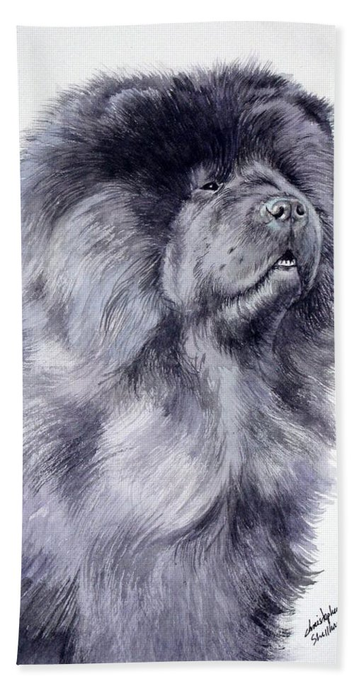Dog Beach Towel featuring the painting Black Chow Chow by Christopher Shellhammer