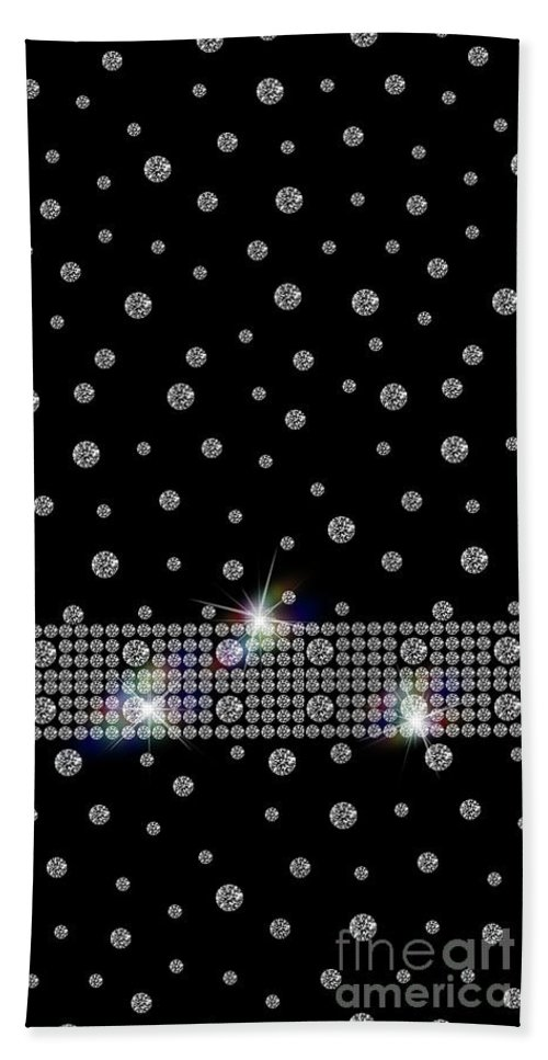 Black Beach Towel featuring the digital art Black Diamonds Jewelry Art by Anne Kitzman