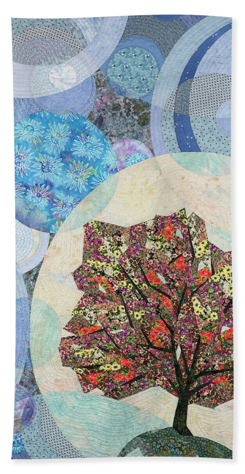 Tree Beach Towel featuring the tapestry - textile Black Elk's Mighty Flowering Tree by Linda Beach