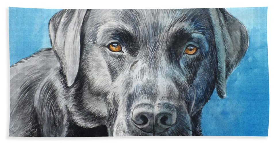 Dog Beach Towel featuring the painting Black Lab by Christopher Shellhammer