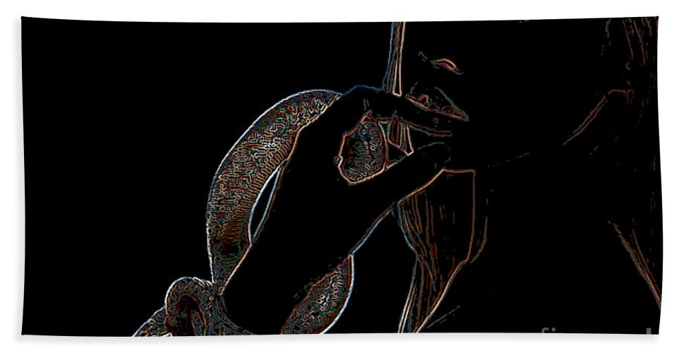 Black Light Beach Towel featuring the painting Black Light by Thomas Oliver
