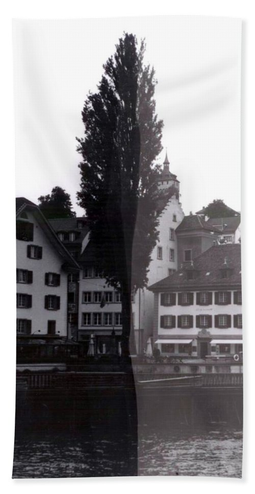 Black And White Beach Towel featuring the photograph Black Lucerne by Christian Eberli