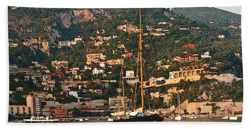 Villefranche Beach Towel featuring the photograph Black Sailboat At Villefranche II by Steven Sparks