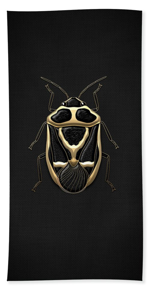�beasts Creatures And Critters� Collection By Serge Averbukh Beach Towel featuring the photograph Black Shieldbug With Gold Accents by Serge Averbukh