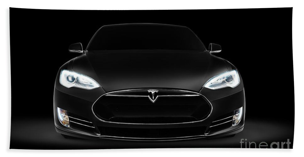 Tesla Beach Towel featuring the photograph Black Tesla Model S Luxury Electric Car Front View by Maxim Images Prints