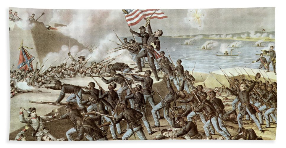 Black Troops Of The 54th Massachusetts Regiment During The Assault Of Fort Wagner Beach Towel featuring the painting Black Troops Of The Fifty Fourth Massachusetts Regiment During The Assault Of Fort Wagner by American School