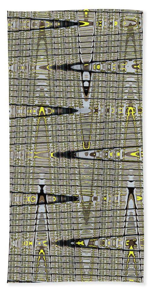 Black Walnut Drawing With Yellow Abstract Beach Towel featuring the digital art Black Walnut Drawing With Yellow Abstract by Tom Janca