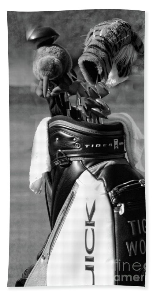 Golf Beach Towel featuring the photograph Black White Tiger Woods Bag Clubs by Chuck Kuhn