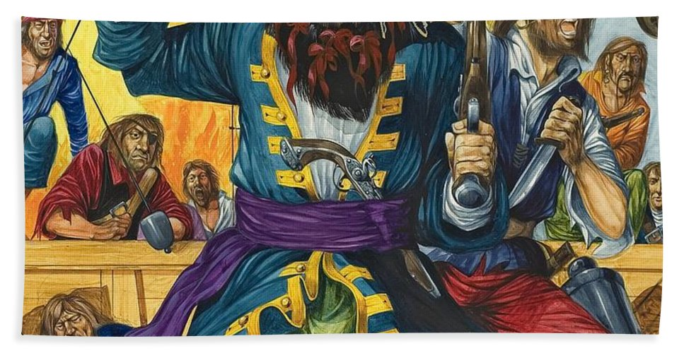 Pirate; Black Beard; Pirates; Captain; Sailors; Sailor; Sailing Ship; Traditional Costume; Fierce; Deck; Sword; Pistol; Gun Beach Towel featuring the painting Blackbeard by Richard Hook