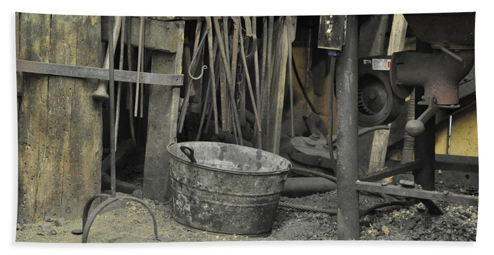 Still Life Beach Towel featuring the photograph Blacksmith's Bucket by Jan Amiss Photography