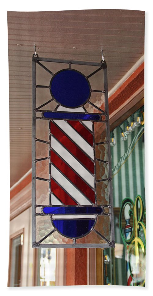 Barbershop Pole Beach Towel featuring the photograph Blake's Barbershop Pole Vector II by Michiale Schneider