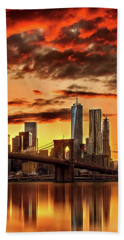 New York City Beach Towel featuring the photograph Blazing Manhattan Skyline by Az Jackson