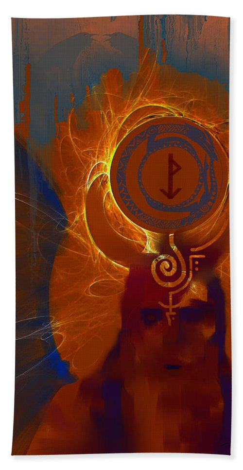 Spiritual Beach Sheet featuring the digital art Blazzing Wisdom Through Odins Essence by Stephen Lucas