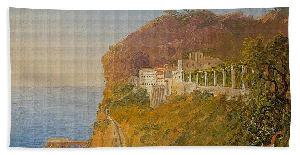 Carl Morgenstern - Blick Auf Die Küste Von Amalfi (1867) Beach Towel featuring the painting Blick Auf Die by Carl Morgenstern