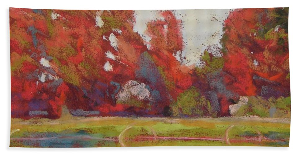 Landscape Beach Towel featuring the painting Bliss Evening by Mary McInnis