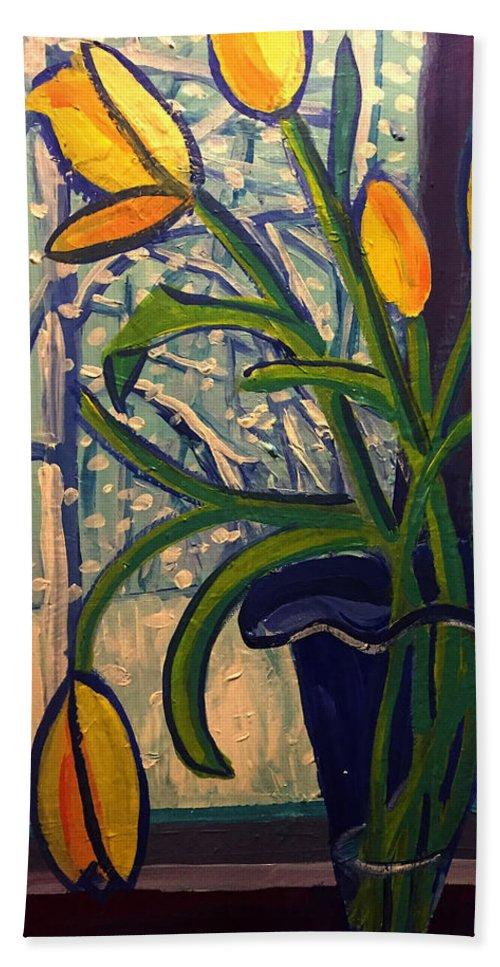 Blizzard Beach Sheet featuring the painting Blizzard Tulips by Debra Bretton Robinson