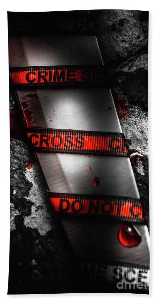 Clue Beach Towel featuring the photograph Bloody Knife Wrapped In Red Crime Scene Ribbon by Jorgo Photography - Wall Art Gallery