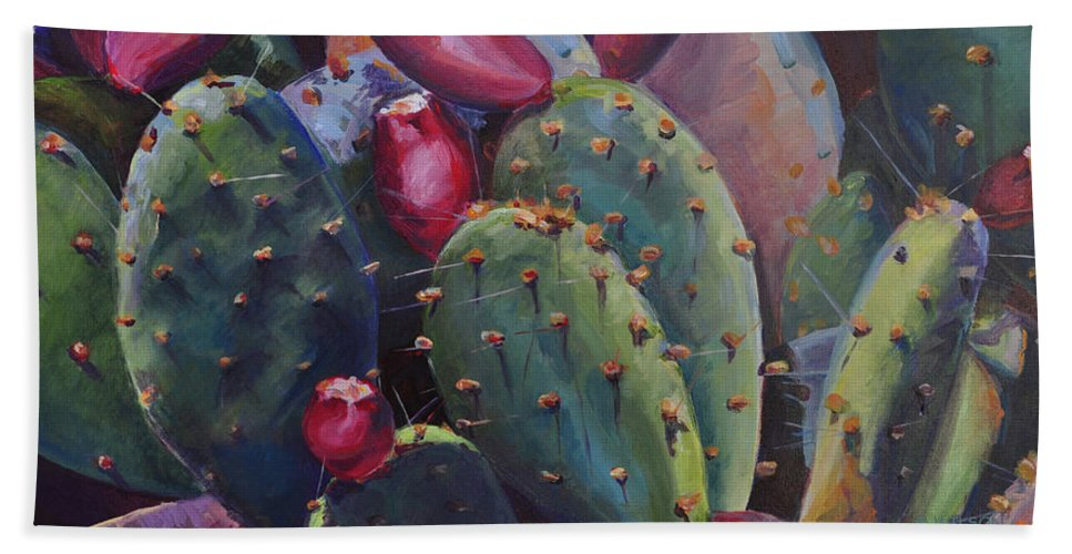 Cactus Beach Towel featuring the painting Blooming Cacti by Marjory Wilson