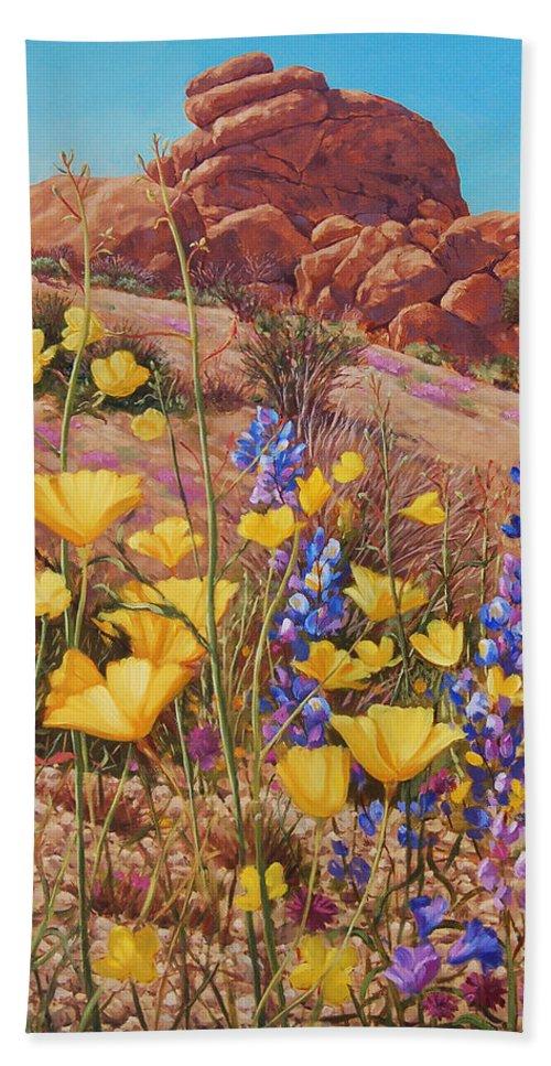 Desert Beach Towel featuring the painting Blooming Desert by Johanna Girard