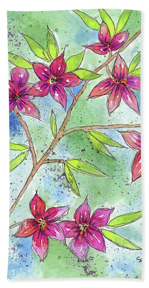 Watercolor And Ink Beach Towel featuring the painting Blooming Flowers by Susan Campbell