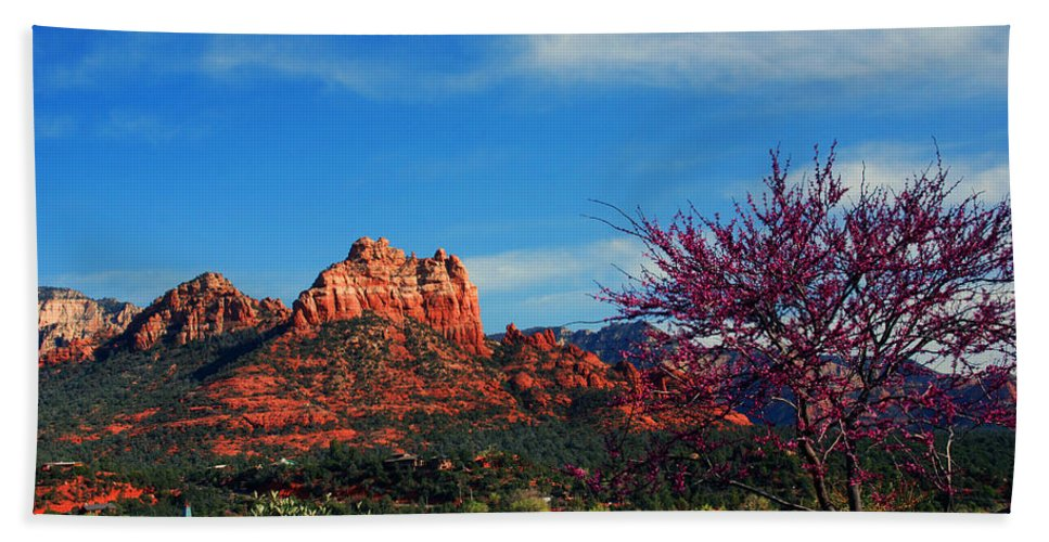 Photography Beach Towel featuring the photograph Blooming Tree In Sedona by Susanne Van Hulst